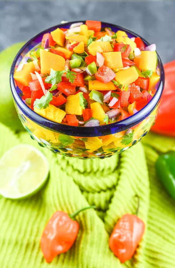 Sweet and Spicy Mango Habanero Salsa is healthy and gluten free and can be made in 15 minutes.