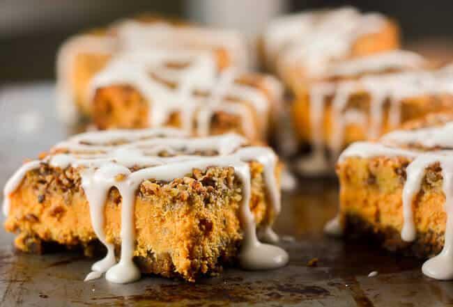 Pumpkin Pecan Cheesecake Bars make a wonderful fall dessert.
