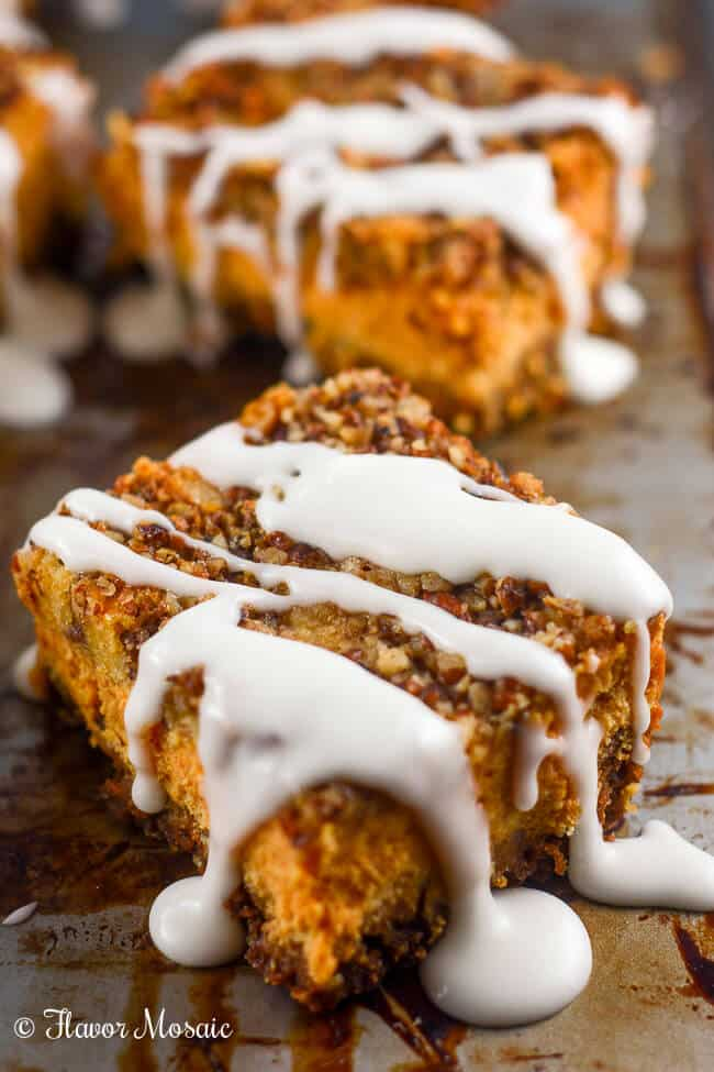 Pumpkin Pecan Cheesecake Bars make a wonderful fall dessert.