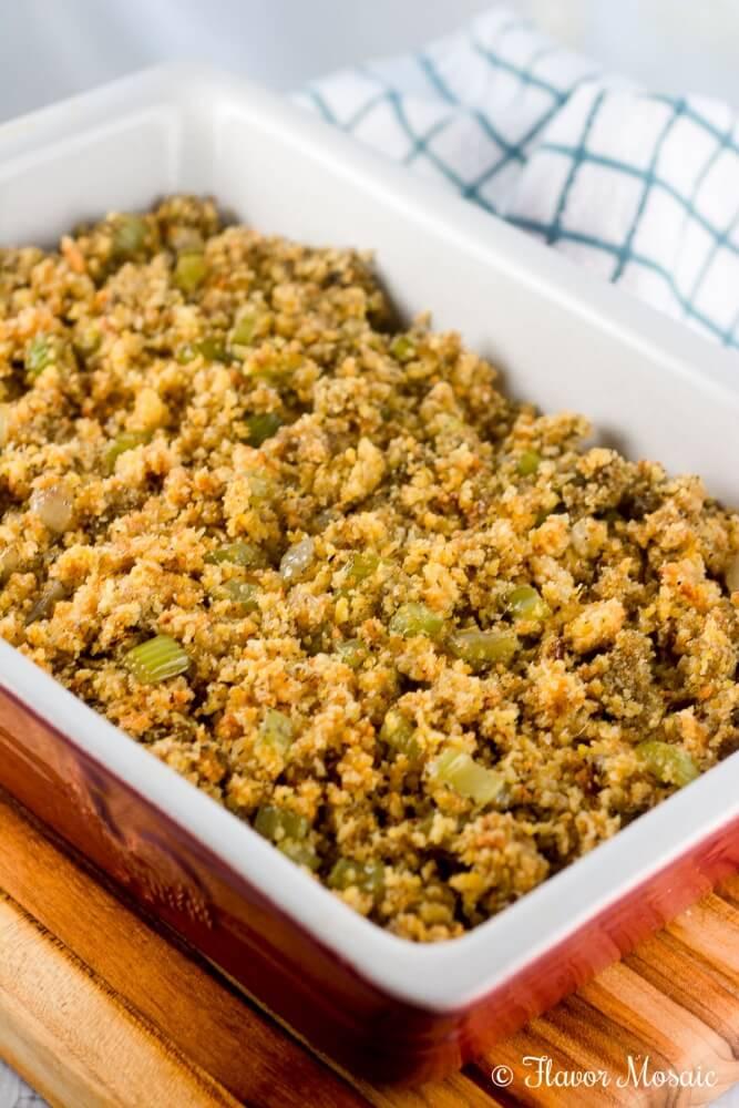 Easy Cornbread Dressing Stuffing recipe for Thanksgiving.
