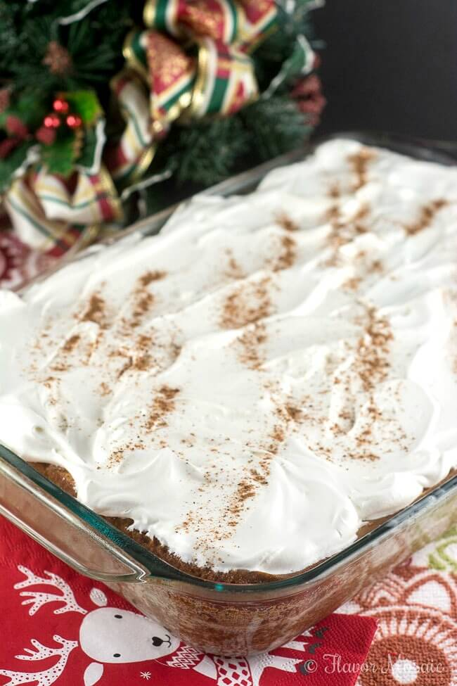 Eggnog Tres Leches Cake by Flavor Mosaic makes an impressive holiday dessert cake.