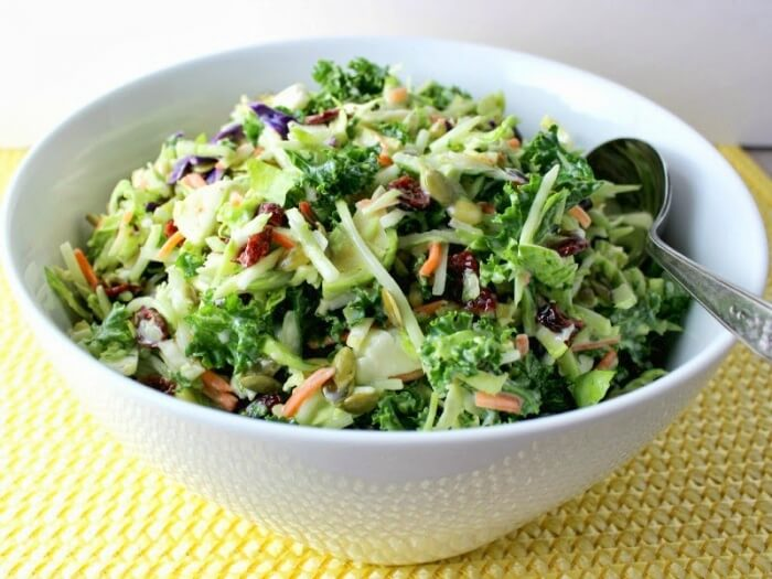 Broccoli, Kale, and Brussels Sprouts Slaw is one of the 16 ...