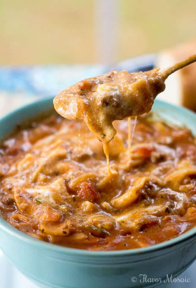 Easy Lasagna Soup is an easy cheesy and comforting soup that tastes like lasagna in a bowl.