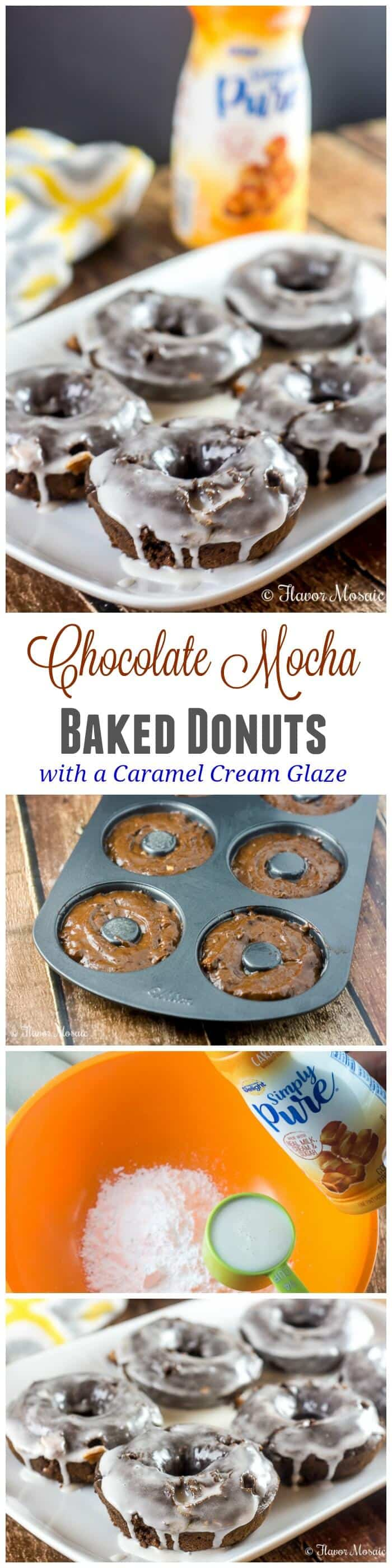 Chocolate Mocha Baked Donuts with a Caramel Cream Glaze make a sweet and delicious breakfast, and when paired with a cup of hot coffee, get you energized for the morning and the rest of your day. #IDSimplyPure #ad
