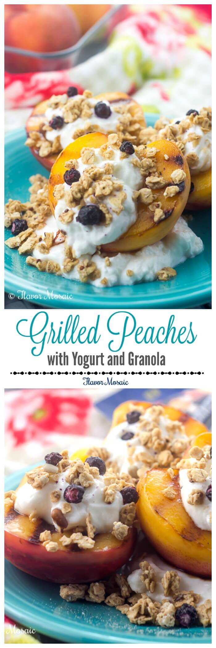 Grilled Peaches with Yogurt and Granola make a super quick and easy breakfast on busy mornings, and provide a sweet, crunchy and wholesome alternative to your standard breakfast or dessert. #GranolaMyWay #ad @QuakerOats
