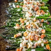 Asiago Bruschetta Roasted Asparagus #SundaySupper