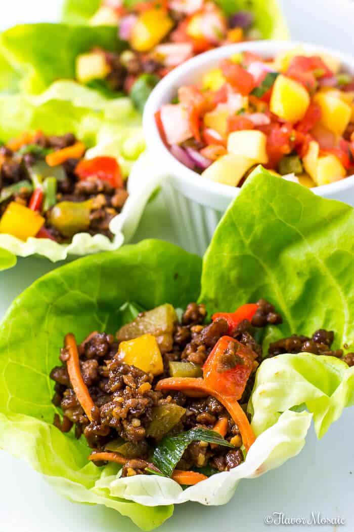 Vegan Lettuce Wraps with Mango Habanero Salsa-5