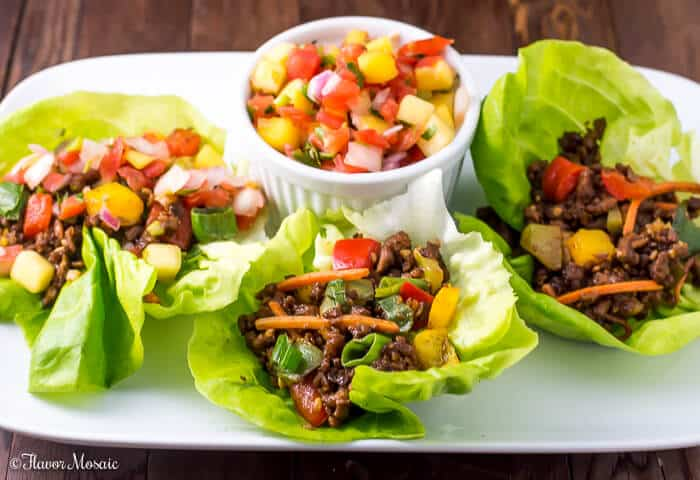 Asian Lettuce Wraps with Mango Habanero Salsa made with vegetarian soy crumbles