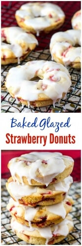 Baked Glazed Strawberry Donuts