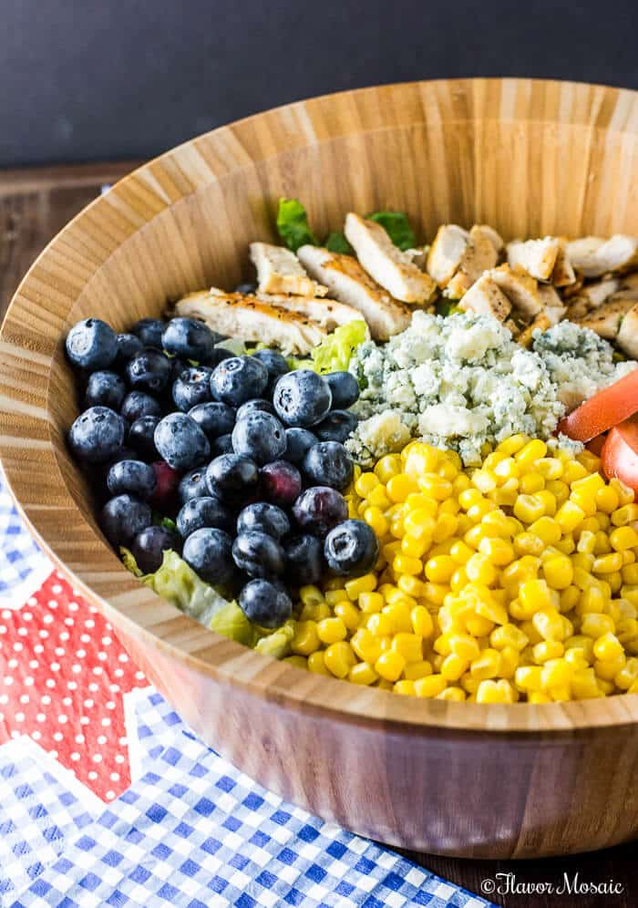 Blueberry Gorgonzola Farmer's Salad is a crisp summer salad made with fresh Florida blueberries, corn, and tomatoes and creamy gorgonzola cheese with grilled chicken that is perfect for lunch or dinner. #FreshFromFlorida #IC #ad