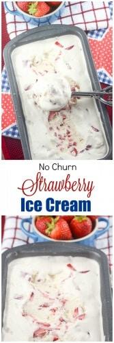 Easy Homemade no Churn Strawberry Ice Cream - Flavor Mosaic