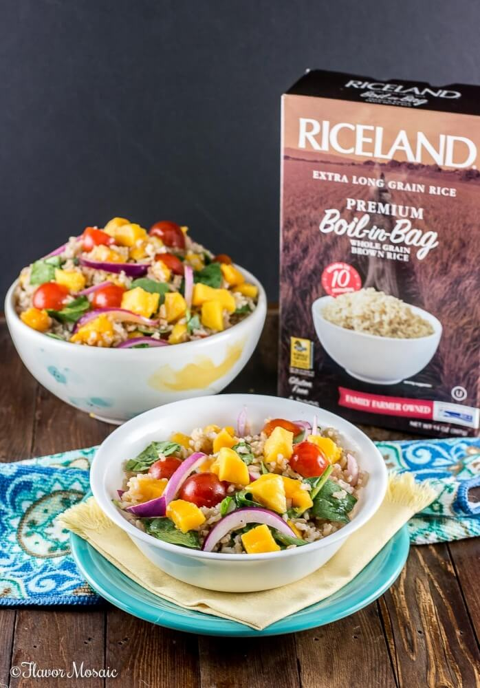 Mango Spinach Rice Salad, with brown rice, mango, baby spinach, tomatoes, and red onions in a red wine vinaigrette, makes a delicious and colorful side dish for a fish dinner, barbecue or potluck. #ProntoPerfectRice #Ad ~ http://flavormosaic.com