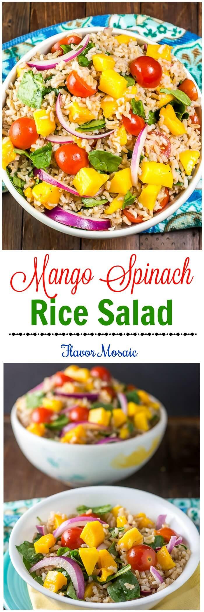 Mango Spinach Rice Salad - Flavor Mosaic