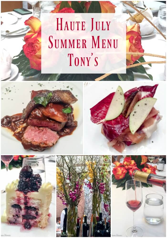 Tony's Haute July Summer Menu
