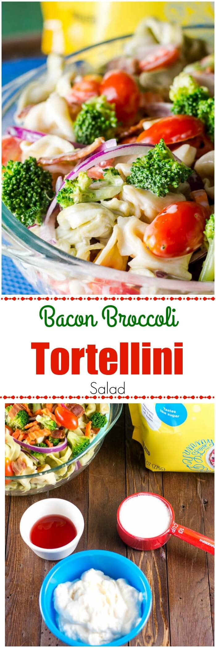 This Bacon Broccoli Tortellini Salad is a favorite pasta salad for outdoor BBQs, picnics, or tailgating parties, and has less sugar than most pasta salads!  #TortelliniSalad #PastaSalad