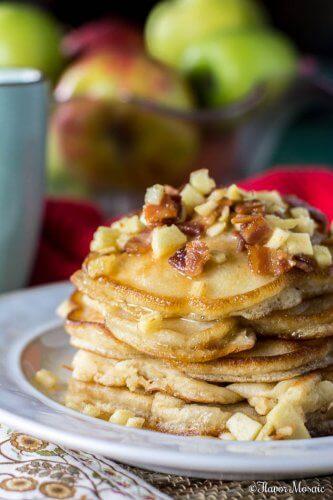 Apple Maple Bacon Pancakes for Breakfast