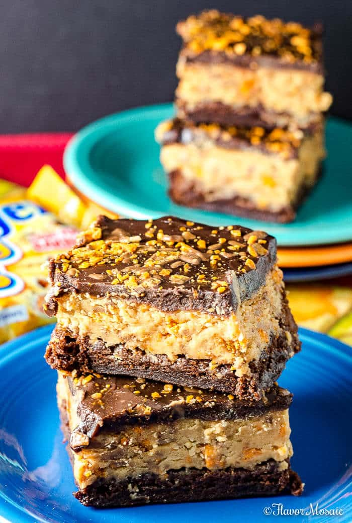 Butterfinger Buckeye Brownie Chocolate and Peanut Butter Dessert Bars - Flavor Mosaic