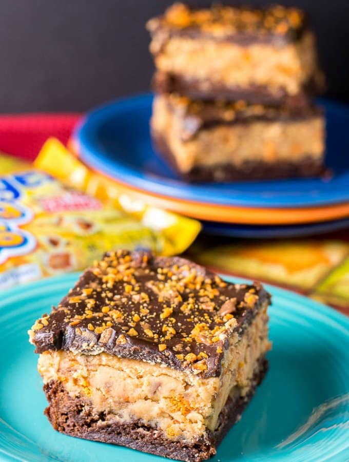 Butterfinger Buckeye Brownies Chocolate Peanut Butter Dessert Bars - Flavor Mosaic