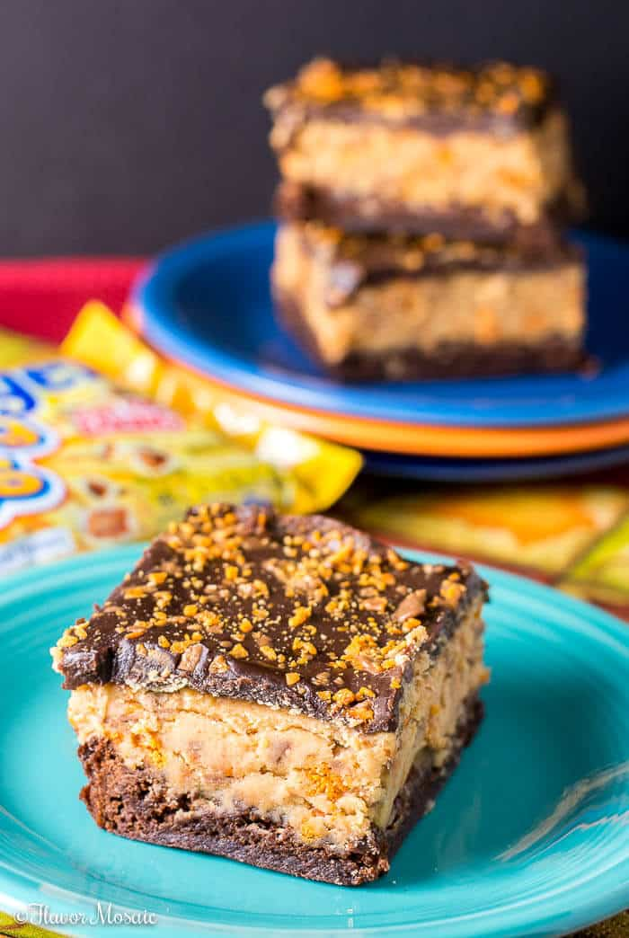 Butterfinger Buckeye Brownies Chocolate Peanut Butter Dessert Bars - Flavor Mosaic