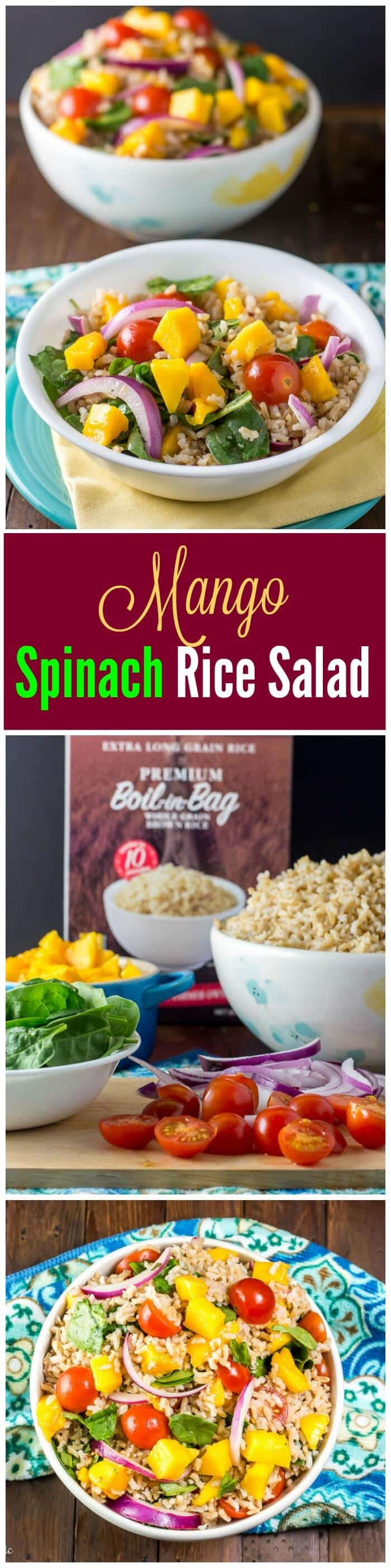 Mango Spinach Rice Salad is a delicious side dish.