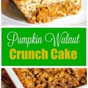 Pumpkin Walnut Crunch Cake -Crumble - Fall Dessert - Flavor Mosaic