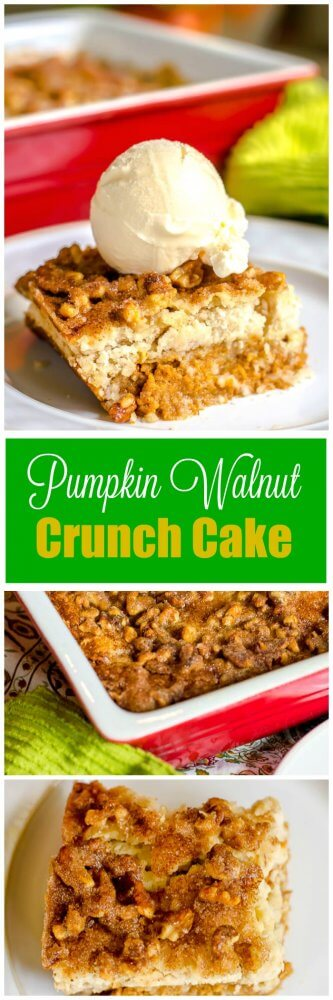 Pumpkin Walnut Crunch Cake -Crumble - Fall Dessert - Flavor Mosaic
