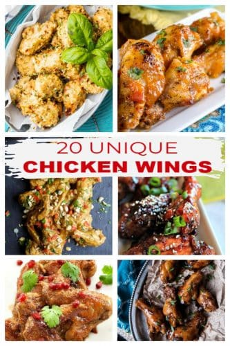 "6-Photo photo collage showing 6 different types of wings with the title in red letters ""20 Unique Chicken Wings"" on a white label just under the top two photos."