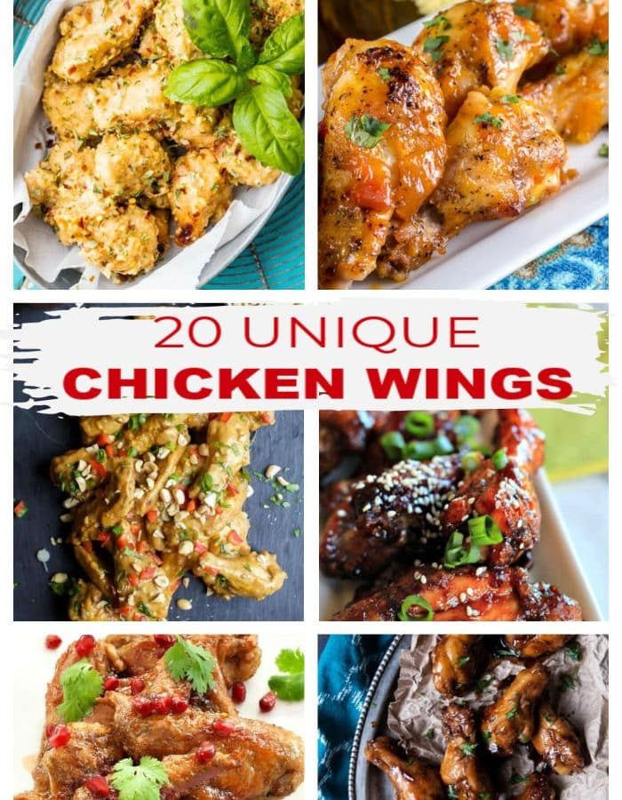 """6-Photo photo collage showing 6 different types of wings with the title in red letters """"20 Unique Chicken Wings"""" on a white label just under the top two photos."""