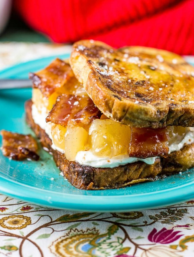 Apple Maple Bacon Stuffed Cinnamon Raisin French Toast