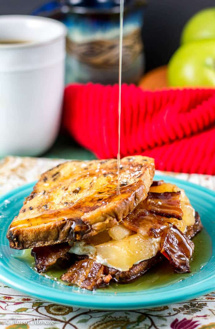 Apple Maple Bacon Stuffed Cinnamon Raisin French Toast