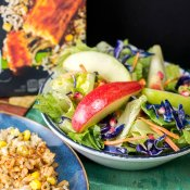 Apple Pomegranate Side Salad with Lime Garlic Vinaigrette