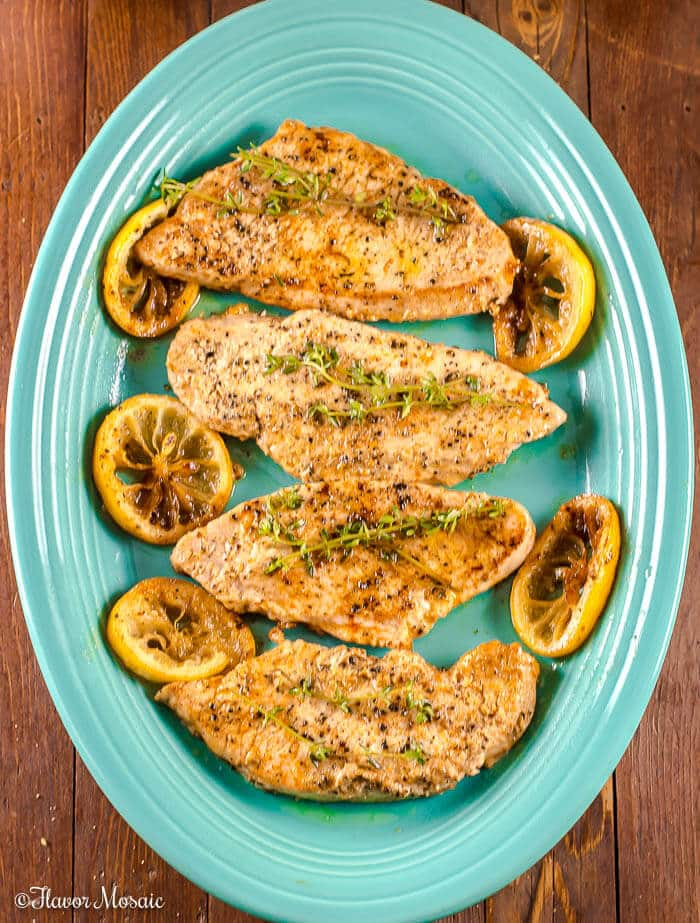 Honeysuckle Lemon Thyme Pan Seared Turkey Breast Cutlets
