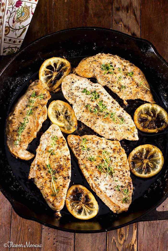 Honeysuckle Lemon Thyme Pan Seared Turkey Breast Cutlets