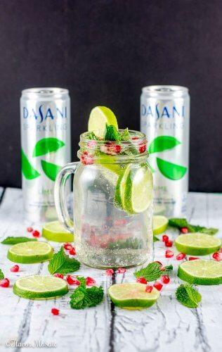 Sparkling Lime Mint Pomegranate Drink