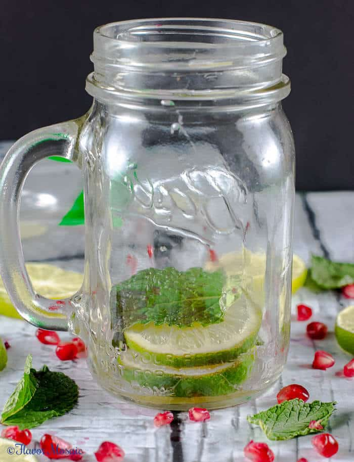 Sparkling Lime Mint Pomegranate Drink