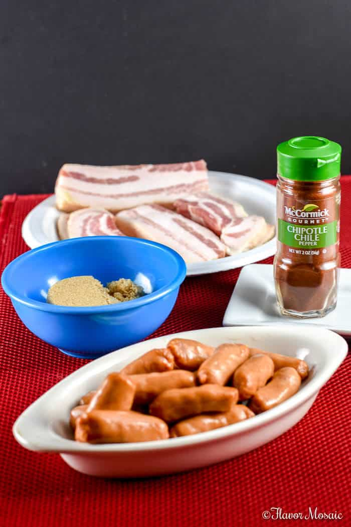 Bacon Wrapped Smokies with spicy chipotle and and brown sugar