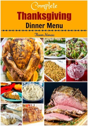 Thanksgiving Dinner Menu with all the fixings