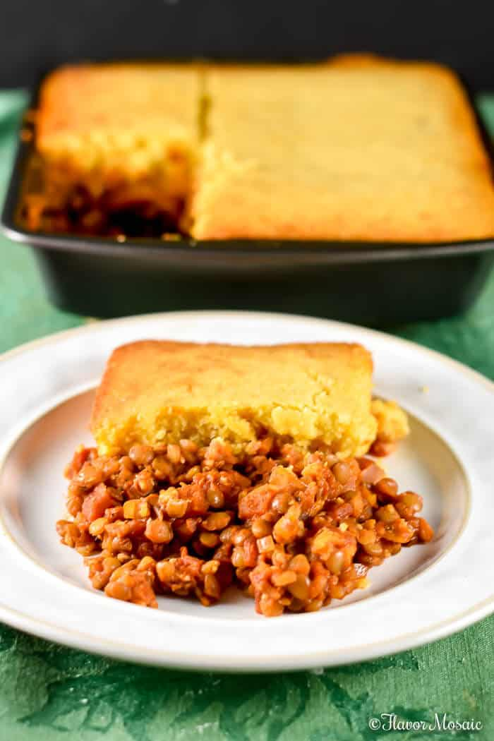 Lentil Sloppy Joe Cornbread Casserole