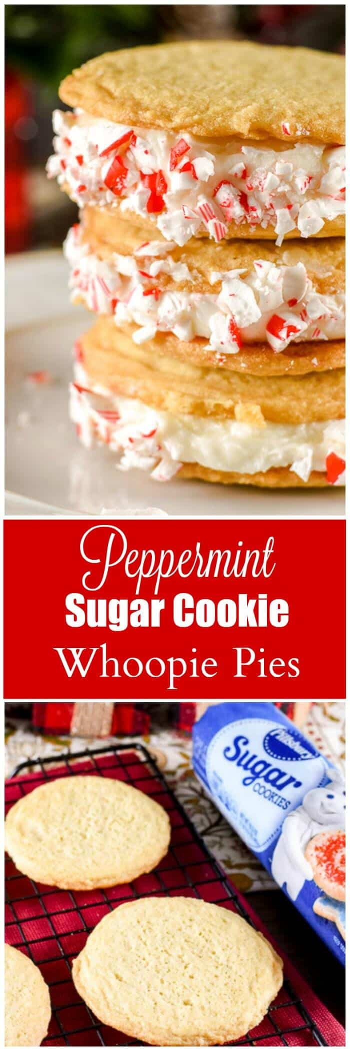 Peppermint Sugar Cookie Whoopie Pies Long Pin.