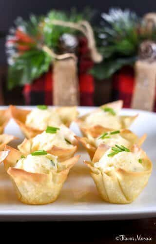 Roasted Garlic Potato Wonton Cups