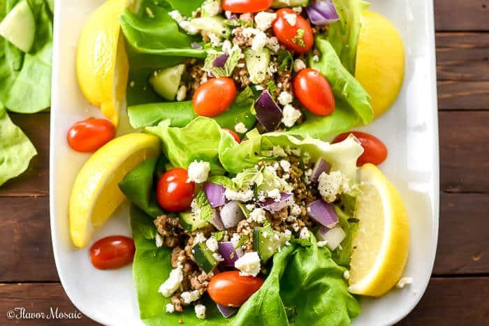 Greek Turkey Taco Lettuce Wraps
