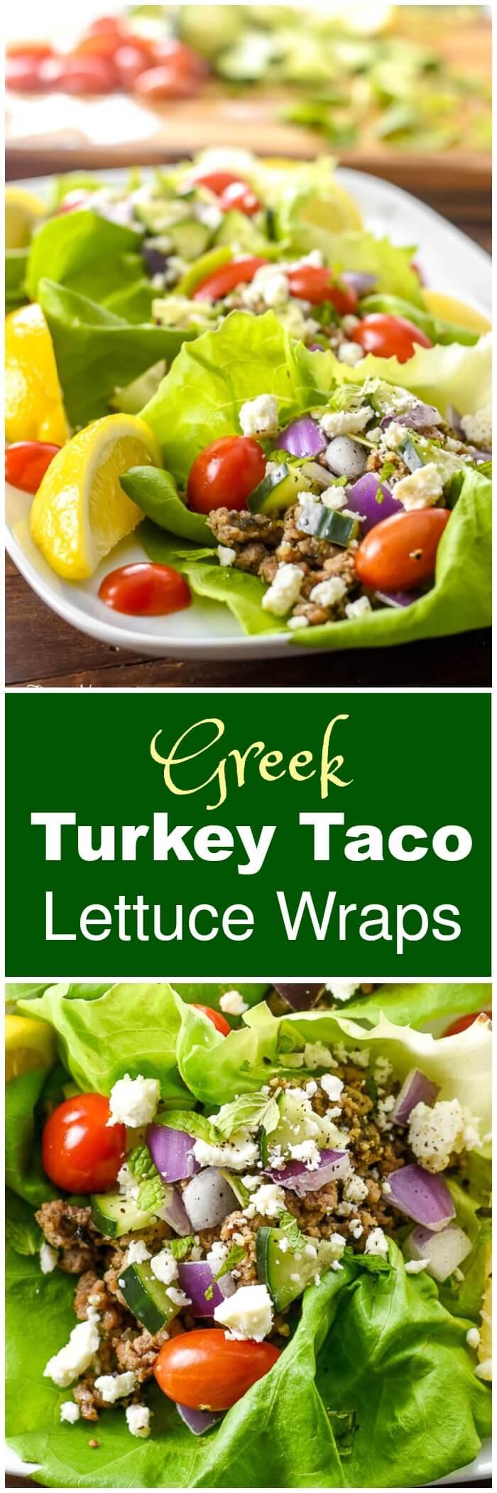 Greek Turkey Taco Lettuce Wraps by Flavor Mosaic