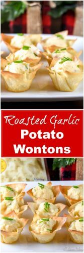 Roasted Garlic Potato Wontons Long Pin