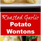 Roasted Garlic Potato Wontons Long Pin