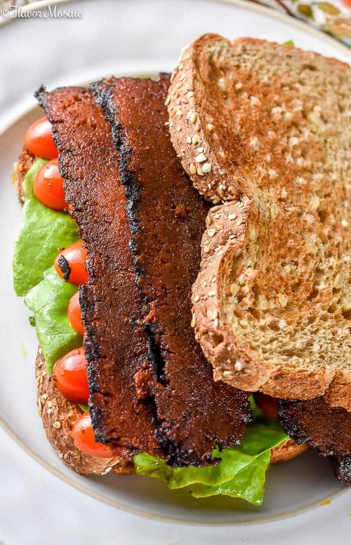 Vegan Bacon Lettuce Tomato Sandwich