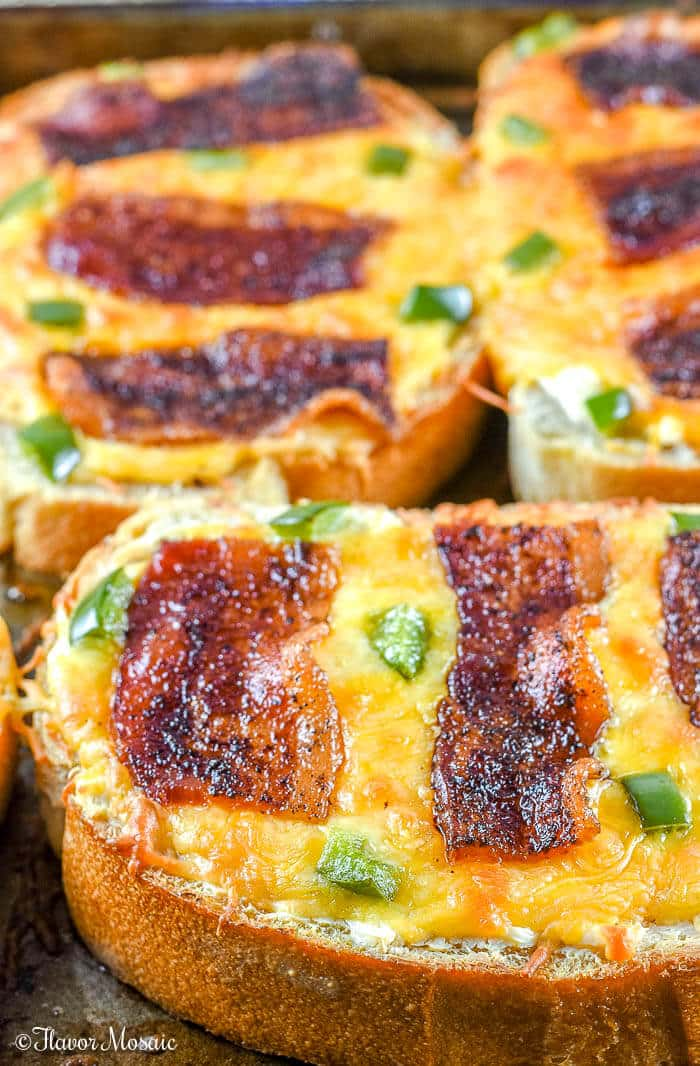 Spicy Bacon and Jalapenos on Texas Toast Cheesy Bread