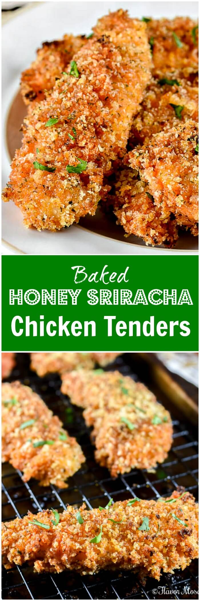 Baked Chicken Tenders with Honey Sriracha Recipe Image Long Pin
