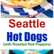 Seattle Hot Dogs with Roasted Red Peppers