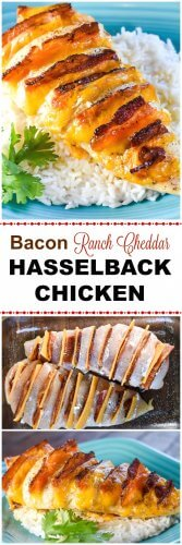 Hasselback Chicken Stuffed with Bacon Ranch and Cheddar