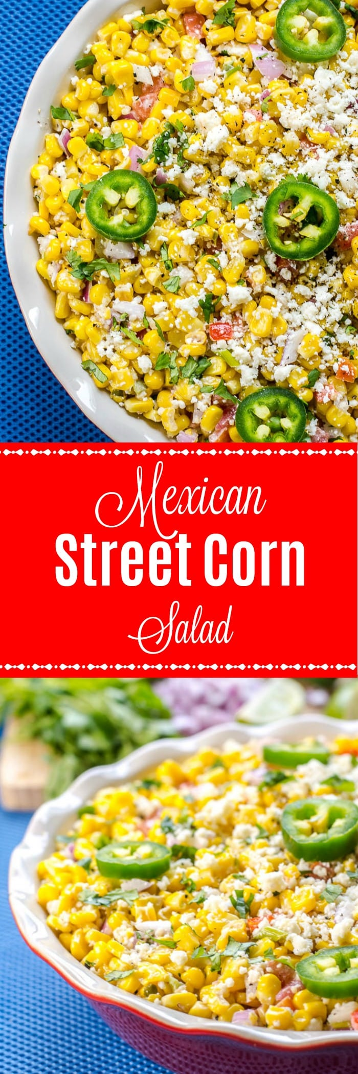 Mexican Street Corn Salad Recipe is deconstructed Elote or Mexican Street Corn, a popular Mexican street food, served in a bowl, instead of as corn on the cob, and covered with a fantastic chili lime cream sauce and cotija cheese.  #CincoDeMayo #MexicanStreetCorn #SummerSalad #MexicanStreetCornSalad